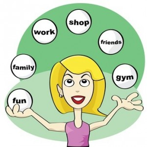 Cartoon illustration showing a young woman juggling balls trying to achieve balance in modern life: fun, friends, work, shop, family, gym